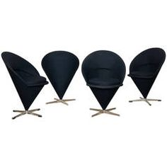 "Four Original 1950s Verner Panton ""K1 Cone Chairs"""
