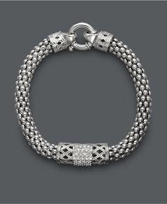 Diamond Bracelet, Sterling Silver Diamond Barrel Bracelet (1/4 ct. t.w.) - Bracelets - Jewelry & Watches - Macy's