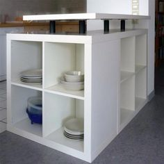 """New Photo Kitchen island from Ikea furniture - DIY cabinets or shelves for the kitchen itself Tips A """"design"""" runs through the Sites and pages of this system world: Ikea Hacks. Ikea Kallax Unit, Ikea Bookcase, Ikea Expedit, Ikea Ikea, Diy Kitchen Decor, Ikea Kitchen, Kitchen Shelves, Kitchen Ideas, Ikea Furniture"""