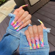 Neon Pink Nails, Bling Acrylic Nails, Best Acrylic Nails, Yellow Nails, Fabulous Nails, Perfect Nails, Gorgeous Nails, Pretty Nails, Really Cute Nails