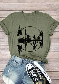 Upside Down Stranger Things Bicycle T-Shirt Tee - Army Green Fashion girls, party dresses long dress for short Women, casual summer outfit ideas, party dresses Fashion Trends, Latest Fashion # Trendy Outfits, Cute Outfits, Stylish Dresses, Stranger Things Shirt, Arrow T Shirt, Home T Shirts, T Shirts For Women, Clothes For Women, Green Fashion