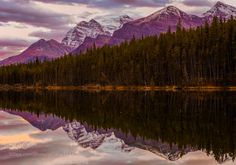 herbert lake sunset by markbowenfineart
