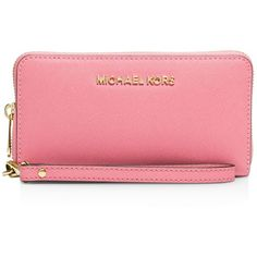 Michael Michael Kors Jet Set Large Flat Multi-Function Smartphone... ($85) ❤ liked on Polyvore featuring accessories, tech accessories, misty rose, smartphone wristlet, michael michael kors wristlet, wristlet smartphone, michael michael kors and smart phone wristlet