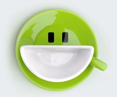 =D green smiley cup and saucer