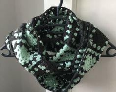 Granny Square Infinity Crochet Scarf Men's Scarf Mens by KrissWool