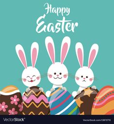 cute bunnies with egg ornament happy easter vector illustration eps 10. Download a Free Preview or High Quality Adobe Illustrator Ai, EPS, PDF and High Resolution JPEG versions.