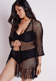 Missguided - Plus Size Fishnet Crochet Cardigan