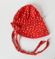 Vintage Childs Bonnet Red Ruffled Flowers by TempleKatVintage