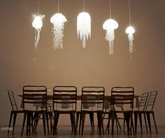 dining rooms, sea creatures, jellyfish lamp, light fixtures, kid rooms