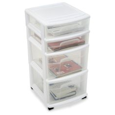 Add some stylish appeal to the ultimate convenience with the Homz Storage Cart. Made of sturdy plastic that will stand up to everyday wear and tear, this Cart has 4 drawers that will easily hold papers, art supplies, files, shoes, books, toys, stuffed animals, blankets, sheets, mementos, electronics, cords, video games and much more. Built - in casters make it a cinch to wheel the Cart anywhere in your home, and the white and clear design offers a sharp touch to any decor.