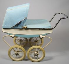 Rare Vintage French Doucet Depose Baby Buggy Pram Miniature Turquoise White