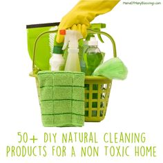 We are trying to move away from toxic products I decided to share my list of every natural cleaning products I could ever need. Here are over 50 of them.
