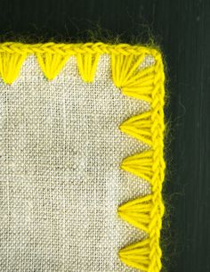 Laura's Loop: Edged Linen Wrap - The Purl Bee - Knitting Crochet Sewing Embroidery Crafts Patterns and Ideas! Hand Embroidery Stitches, Hand Embroidery Designs, Embroidery Techniques, Crochet Stitches, Embroidery Patterns, Crochet Patterns, Crochet Basics, Tunisian Crochet, Knit Crochet
