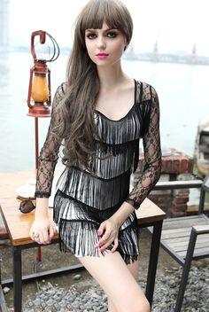 Morpheus Boutique  - Black Layer Lace Fringe Banded clubwear Mini Dress
