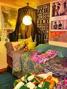 A college dorm room with an international and eclectic flair