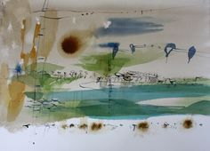 "Ana Zanic: Distant Horizon, 22""x30"", watercolor and ink on paper, @ Ann Connelly Fine Art, Baton Rouge"