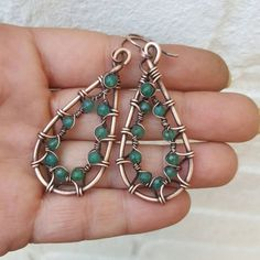 Radiant green onyx earrings copper wire by FromRONIKwithLove