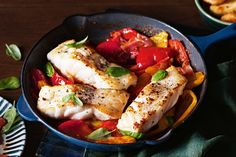 Grilled fish with peperonata