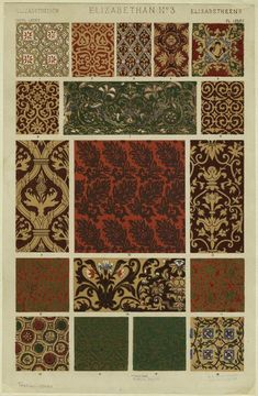 [Floral textile patterns, England, Elizabethan period.