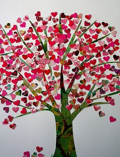 Paper scrap collage: Heart Tree. (Punch used for hearts.) Ideas from the forest: Craft idea: tree of hearts