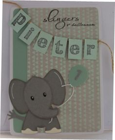 Gemaakt door Joke # Kinderkaart met olifant Pieter 1 jaar 3d Cards, Love Cards, Giraffe, Elephant, Marianne Design, Punch Art, Baby Cards, Cardmaking, Birthday Cards