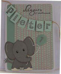 Gemaakt door Joke # Kinderkaart met olifant Pieter 1 jaar