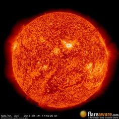 The hourly sun (at 05:45 pm  UTC on 21 January 2013)