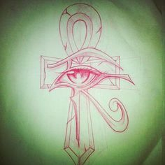 Red Ink Eye Of Horus Ankh Tattoo Design