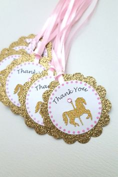Gold Glitter Carousel horse birthday party favor Thank you Horse Baby Showers, Unicorn Baby Shower, Unicorn Party, Carousel Birthday Parties, Carousel Party, Birthday Party Themes, Glitter Cardstock, Gold Glitter, Party Favor Tags