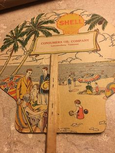 VINTAGE SHELL ADVERTISING FAN - Consumers Oil Company Lawrenceburg Tennessee