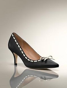 Mina Bow Laced Pump, leather, Talbots $149