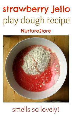 A great homemade play dough recipe, with strawberry jello - smells fantastic! Jelly play dough recipe - sensory play with jello Easy Diy Crafts, Diy Crafts For Kids, Craft Ideas, Playdough Activities, Toddler Activities, Preschool Activities, Strawberry Jello, Homemade Playdough, Messy Play