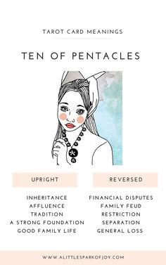 Find here the upright and reversed Ten of Pentacles Tarot Card meanings in relationship to love, career, health, and spirituality. Rider Waite Tarot Cards, Love Articles, Oracle Tarot, Tarot Card Meanings, Tarot Spreads, Tarot Readers, Family Lineage, Pentacle, Tarot Decks