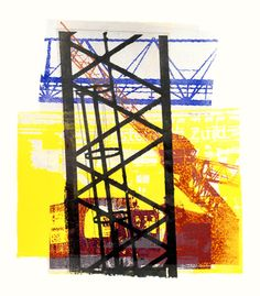 - Building activities & cranes near station Amsterdam -Zuid (South) - unique monotype in collage art technique; by Dutch graphic artist Hilly van Eerten Graphic Art Prints, Poster Prints, Art And Architecture, Architecture Details, Lino Print Artists, Crane Construction, Advanced Higher Art, Action, Shape Art