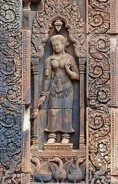 Beautiful carving at Banteay Srei, Cambodia