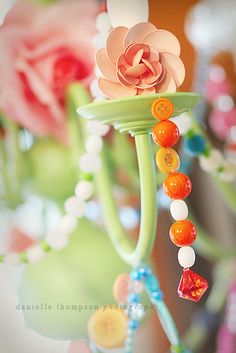 tutorial for fun chandelier using buttons, beads, etc