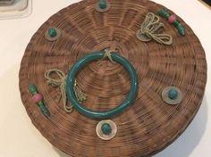 Antique Rattan Jade Jadeite Bracelet Coins Betty Lou Mukerji Chinese Basket