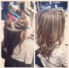Blonde highlights on brown hair. Before and after