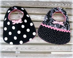 2 Baby Girl Bibs in Black and White Damask and Black Polka Dot /Baby Accessories Pink Minky/ Baby Girl Shower Gift. $21.50, via Etsy.