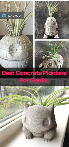The coolest small and large concrete planters for geeks you can find online. Any geek would love to bring these large concrete planters into their home. Large Concrete Planters, Wall Planters, Succulent Planters, Succulents Garden, Handmade Home, Handmade Gifts, Personalized Gifts, When To Plant Seeds, Do It Yourself Organization