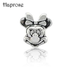 10PCS/Lot 2016 New Arrival 1PC Large Hole Silver Plated Cute minnie Mouse Beads Fits European DIY Charm Bracelet Jewelry Making