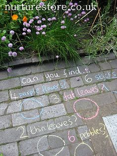 Do your kids love treasure hunts? Using chalk in the garden lets you add in colours, numbers, shapes, textures, language - lots of fun! Try this Chalk Treasure Hunt idea.