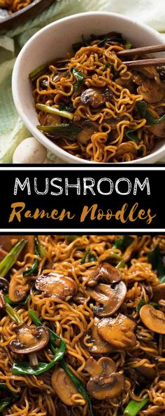 (no title) Asian mushroom ramen noodlesAsian mushroom ramen noodles! Simple, quick and extremely tasty, this is a versatile side dish for every Asian meal.Simple homemade ramen bowlsSimple homemade ram bowls Kill Thyme - Make a Vegetarian Mushroom Recipes, Easy Mushroom Recipes, Vegetarian Ramen, Vegetarian Recipes Noodles, Baby Bella Mushroom Recipes, Ramen Recipes, Beef Recipes, Healthy Recipes, Asian Noodle Recipes