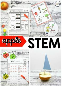 Apple STEM Challenges kids will love! Teaching an apple unit this fall? Don't miss our awesome Apple STEM pack that will have your kindergarten and first grade kids begging for more. Apple Activities, Autumn Activities For Kids, Sequencing Activities, September Activities, Science Activities, Apple Life Cycle, Kindergarten Stem, Apple Unit, Math Stem