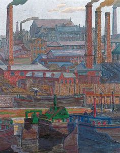 Charles Ginner, Leeds Canal, 1914
