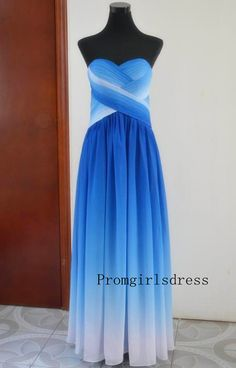 Prom dress Long Prom Dresses Ombre Prom Dress Blue by PromTimes