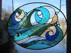 Ocean wave stained glass