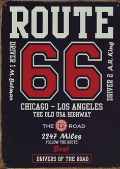 Route 66, Garage, 1 Kings, Metal Plaque, Chicago, Angel, Posters, Bar, Vintage Metal