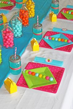 """Photo 1 of 17: Candy Shoppe / Birthday """"Halle's Candy Shoppe """"   Catch My Party - like the colors and table set up"""