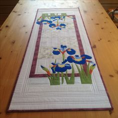 Irises on a pretty Table runner